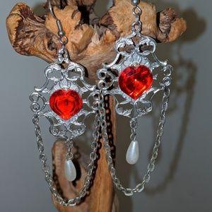 Boho Chandelier red heart Pearl earrings